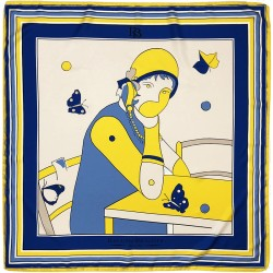 Le Reve - Foulard donna blu 90x90 twill 100% seta