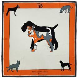 Amitié - Foulard donna arancio e grigio 90x90 twill 100% seta