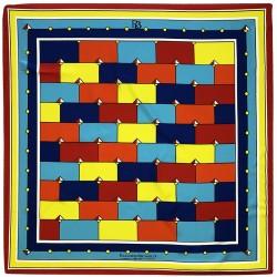Idiomes - Foulard donna rosso e celeste 140x140 chiffon 100% seta