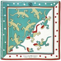 Bonne Chance - Foulard unisex verde e bianco 70x70 cotone e seta