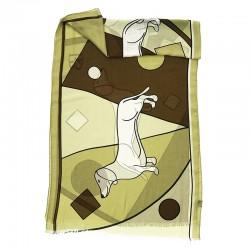 Amitié Geometrique - Scarf unisex brown 70x180 plus fringes 95% modal 5% cashmere